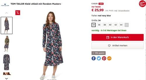 TOM TAILOR Kleid »Kleid mit floralem Muster« - jetzt 31% billiger