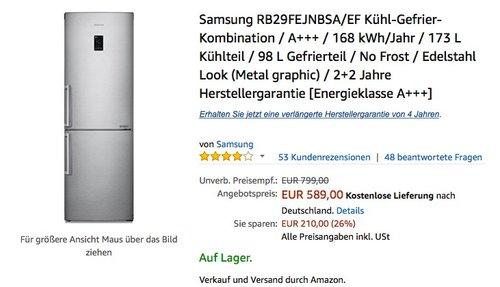 Samsung RB29FEJNBSA/EF Kühl-Gefrier-Kombination - jetzt 19% billiger