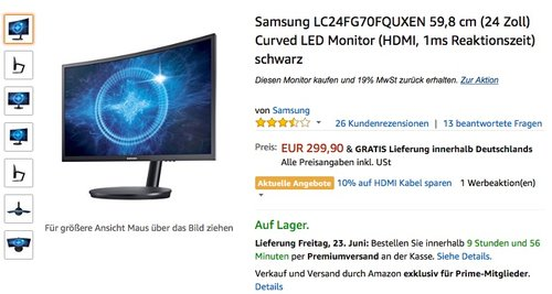 Samsung LC24FG70FQUXEN 59,8 cm (24 Zoll) Curved LED Monitor - jetzt 16% billiger