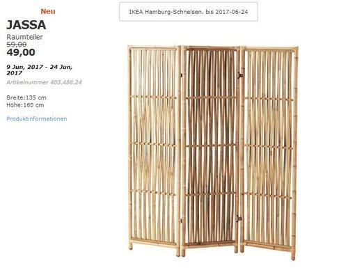 IKEA JASSA Raumteiler, Rattan, 160x135 cm. - jetzt 17% billiger