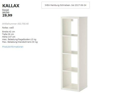 IKEA KALLAX Regal, 42x39 cm, 147 cm hoch, weiß - jetzt 25% billiger