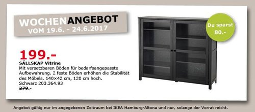 IKEA SÄLLSKAP Vitrine, 140x42 cm, 120 cm hoch, schwarz - jetzt 29% billiger