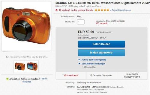 MEDION LIFE S44080 (MD 87280) Wasserdichte Digitalkamera 20 MP - jetzt 40% billiger
