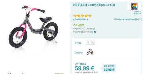 KETTLER Laufrad Run Air Girl ab 2 Jahren - jetzt 13% billiger