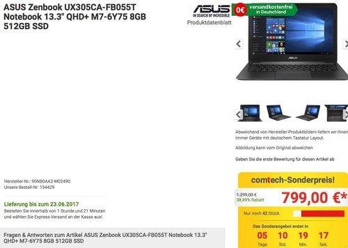 Asus Zenbook UX305CA-FB055T 13,3 Zoll Notebook - jetzt 8% billiger