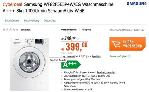 Samsung WF82F5E5P4W/EG Waschmaschine A+++ 8kg - jetzt 18% billiger
