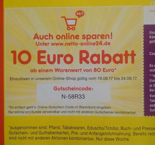 10 Euro Rabatt ab einem Warenwert von 80 Euro bei Netto Marken-Discount - jetzt 13% billiger