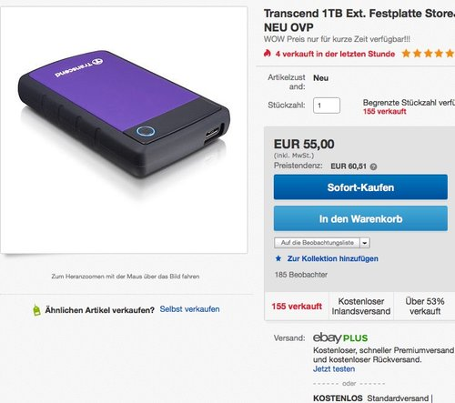 Transcend StoreJet 25H3P 1 TB Externe Festplatte - jetzt 17% billiger