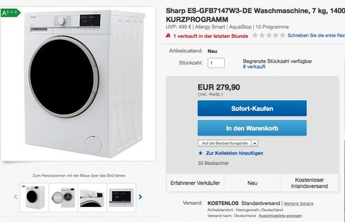 Sharp ES-GFB7147W3-DE Waschmaschine, 7 kg - jetzt 26% billiger