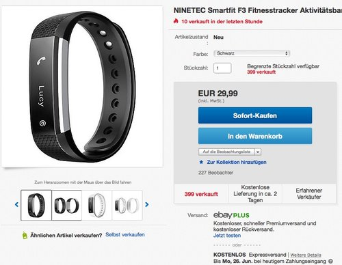NINETEC Smartfit F3 Fitnesstracker - jetzt 50% billiger