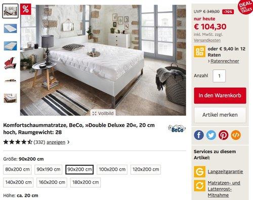 BeCO Komfortschaummatratze »Double Deluxe 20«, 90x200cm, 20 cm hoch - jetzt 26% billiger