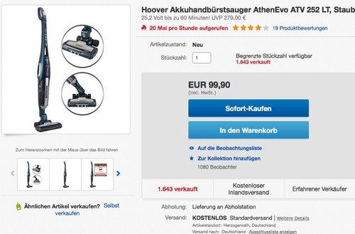 Hoover Akkuhandbürstsauger AthenEvo ATV 252 LT - jetzt 30% billiger