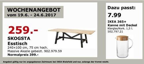 IKEA  SKOGSTA Esstisch, 240x100 cm, 75 cm hoch,  massive Akazie gebeizt - jetzt 35% billiger