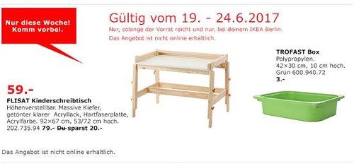 IKEA  FLISAT Kinderschreibtisch, höhenverstellbar, massive Kiefer, 92x67 cm, 53/72 cm hoch. - jetzt 25% billiger