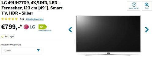 LG 49UH7709 123 cm (49 Zoll) Ultra HD LED-Fernseher - jetzt 13% billiger
