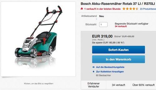 Bosch Akku-Rasenmäher Rotak 37 LI / R370LI inkl. 2,6 Ah Akku - jetzt 30% billiger