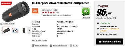 JBL Charge 2+ Bluetooth Lautsprecher, schwarz - jetzt 29% billiger