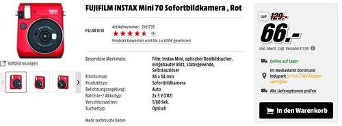 FUJIFILM INSTAX Mini 70 Sofortbildkamera , Rot - jetzt 30% billiger