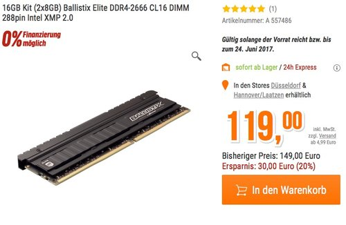 Ballistix Elite 16GB Kit RAM (8GBx2) DDR4 2666 DIMM 288pin - jetzt 11% billiger