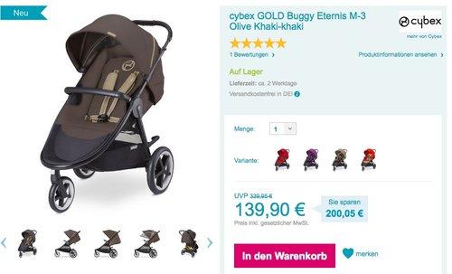cybex GOLD Buggy Eternis M-3 Olive Khaki-khaki - jetzt 37% billiger