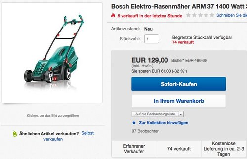 Bosch DIY Rasenmäher ARM 37, 40 l Grasfangkorb, 1400 Watt, 37cm Schnittbreite - jetzt 26% billiger