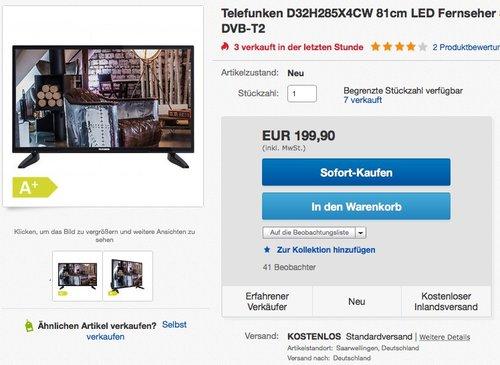 Telefunken D32H285X4CW 81 cm (32 Zoll) LED-Fernseher - jetzt 19% billiger