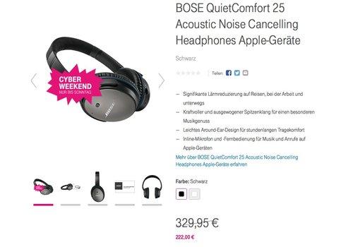 BOSE QuietComfort 25 Acoustic Noise Cancelling Headphones Apple-Geräte - jetzt 17% billiger