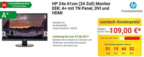 HP 24o (X0J60AA) 61cm (24 Zoll) Monitor - jetzt 16% billiger