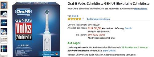 Oral-B Volks-Zahnbürste GENIUS Elektrische Zahnbürste - jetzt 11% billiger