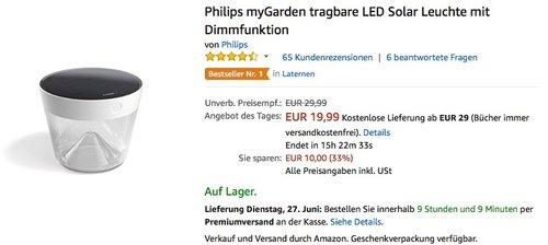 Philips myGarden tragbare LED Solar Leuchte mit Dimmfunktion - jetzt 31% billiger