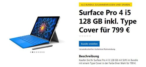 Surface Pro 4 i5 128 GB inkl. Type Cover - jetzt 16% billiger