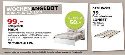 IKEA MALM Bettgestell, 140x200 cm Liegefläche, weiß - jetzt 34% billiger