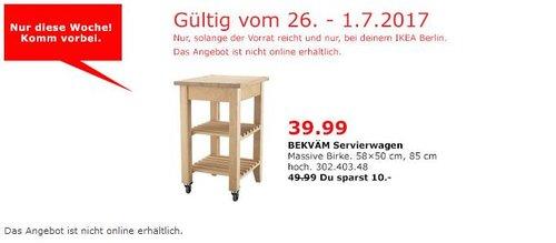 IKEA BEKVÄM Servierwagen, 58x50 cm, Birke - jetzt 20% billiger