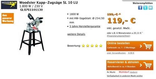 Woodster SL10LU Kapp-Zugsäge inkl. Untergestell Laser - jetzt 24% billiger