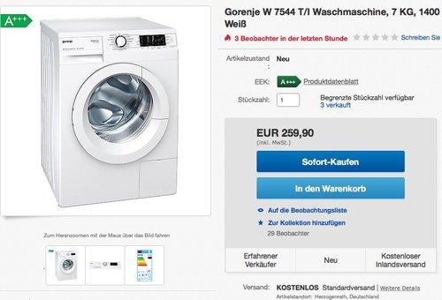 Gorenje W 7544 T/I Waschmaschine, 7 Kg - jetzt 22% billiger