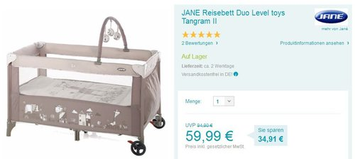 JANE Reisebett Duo Level Tangram II - jetzt 33% billiger