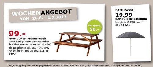 IKEA FRUHOLMEN Picknicktisch, massive Akazie, 150x149 cm,70 cm hoch, braun - jetzt 34% billiger