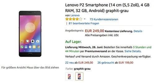 Lenovo P2 Smartphone (14 cm (5,5 Zoll), 4 GB RAM, 32 GB, Android) graphit-grau - jetzt 20% billiger
