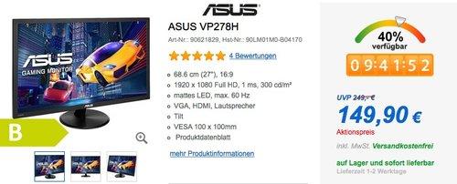 Asus VP278H 68,6 cm (27 Zoll) Monitor (VGA, HDMI, 1ms Reaktionszeit) schwarz - jetzt 23% billiger