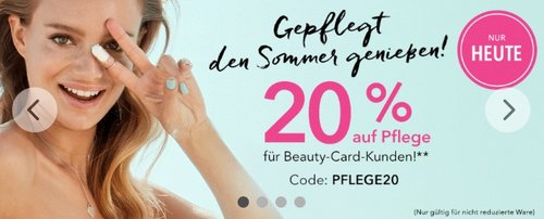 20 % Rabatt bei douglas.de auf Pflege für Beaty-Card-Kunden - jetzt 20% billiger