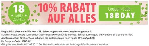 10 % Rabatt auf fast alles bei Zooplus.de, nur heute (27.06.2017). - jetzt 10% billiger
