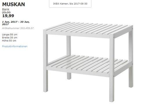 IKEA  MUSKAN Bank, 58x38 cm, 50 cm hoch, weiß - jetzt 33% billiger