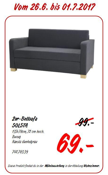 IKEA SOLSTA 2er-Bettsofa, 137x78 cm, 72 cm hoch, dunkelgrau - jetzt 30% billiger