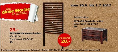 IKEA  ÄPPLARÖ Wandpaneel/außen, 80x158 cm,  las. braun - jetzt 41% billiger