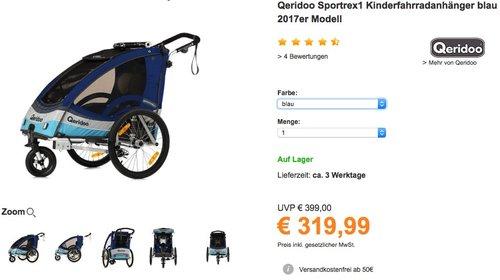 Qeridoo Sportrex1 Kinderfahrradanhänger - jetzt 8% billiger
