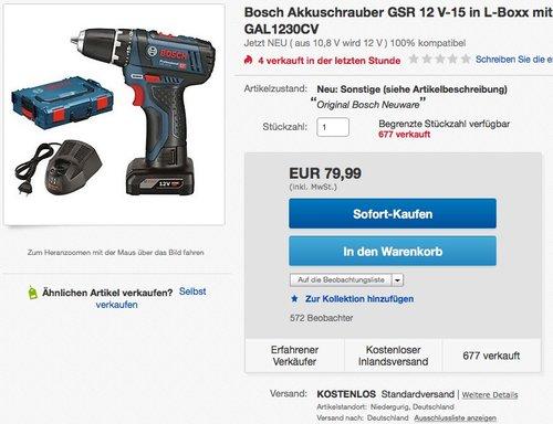 Bosch GSR 12V-15 Akku-Bohrschrauber in L-Boxx mit 1 Akku 4,0 Ah - jetzt 20% billiger