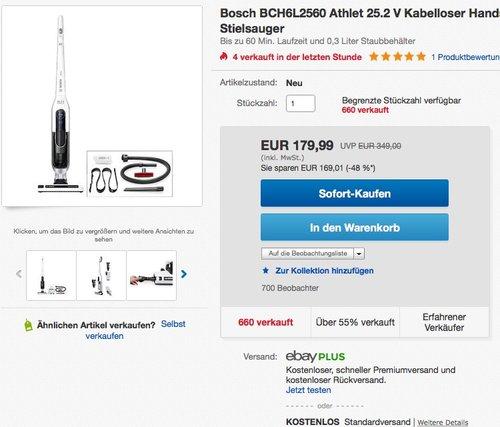 Bosch BCH6L2560 Kabelloser Handstaubsauger Athlet - jetzt 13% billiger