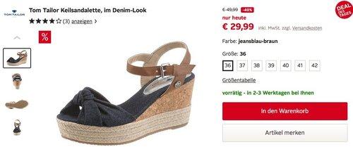 TOM TAILOR Damen Keilsandalette, im Denim-Look, jeansblau-braun - jetzt 20% billiger