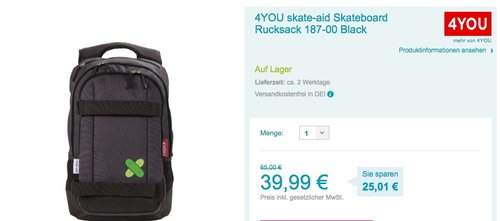 4YOU skate-aid Skateboard Rucksack - jetzt 38% billiger
