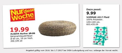 IKEA ALSEDA Hocker, Sitzdurchmesser: 60 cm,  Höhe: 18 cm, Bananenstaudenfaser - jetzt 33% billiger